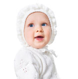 Excited baby girl face isolated on white Royalty Free Stock Photo