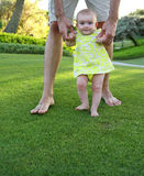 Excited baby girl. First steps Royalty Free Stock Photo