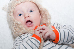 Excited Baby in Hat Royalty Free Stock Image