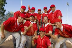 Excited Baseball Team royalty free stock image