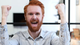 Excited Beard Man Celebrating Success Royalty Free Stock Images