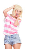 Excited beautiful girl shouting Stock Photo