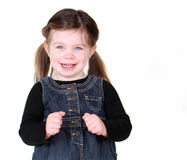 Excited and beautiful little girl on white. Excited and beautiful little girl isolated on white Stock Photography