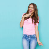 Excited Beautiful Woman Shouting Stock Images