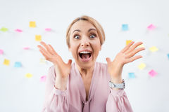 Excited blonde businesswoman Royalty Free Stock Image