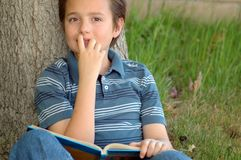 Excited book reader Royalty Free Stock Photos