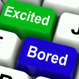 Excited Bored Keys Show Exciting And Boring Stock Images