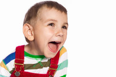 Excited boy. Portrait of a boy with vivid emotion. Closeup Stock Photography