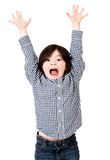 Excited boy with arms up Royalty Free Stock Photo