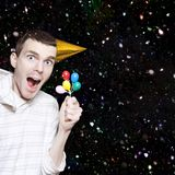 Excited Boy In Confetti Celebrating Birthday Party Stock Photography