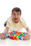 Excited boy easter eggs Stock Photos