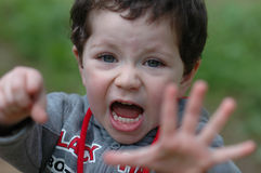 Excited boy portrait. Out doors Stock Images