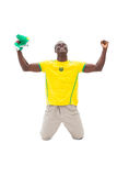 Excited brazilian football fan cheering on his knees Royalty Free Stock Photo
