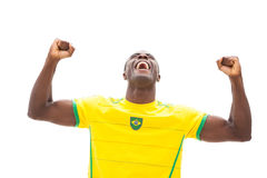 Excited brazilian football fan cheering Stock Images