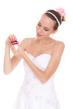Excited bride woman opening engagement ring box. Royalty Free Stock Photo