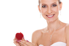 Excited bride woman showing engagement ring box. Stock Photos