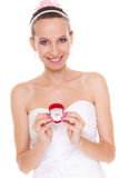 Excited bride woman showing engagement ring box. Stock Images