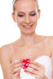 Excited bride woman showing engagement ring box. Royalty Free Stock Image