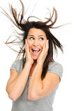 Excited brunette Royalty Free Stock Photography