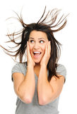 Excited brunette Stock Photo