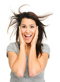 Excited brunette Royalty Free Stock Images