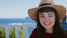 Excited brunette adventures in summer holidays. Portrait close up of beautiful and natural european brunette woman with shinning eyes and positive full of love stock footage