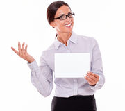 Excited brunette businesswoman with a signboard Stock Image
