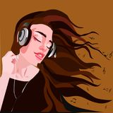 Pretty girl in headphones enjoying music stock illustration