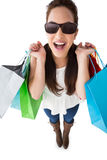 Excited brunette holding shopping bags Royalty Free Stock Photos