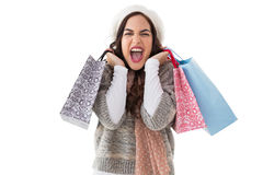 Excited brunette holding shopping bags Stock Photo