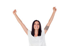Excited brunette woman celebrating a triumph. Isolated over a white background Stock Photo