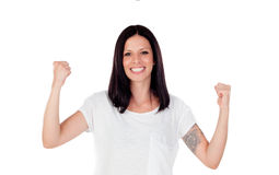 Excited brunette woman celebrating a triumph. Isolated over a white background Stock Photos