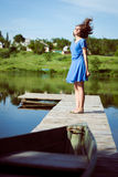 Excited brunette young girl  flying her long hair Stock Image