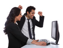 Excited Business Couple Stock Images