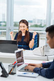 Excited business lady Stock Images