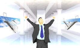 Excited business man with arms raised in success Stock Images