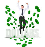 Excited business man in a dollar's rain Stock Image