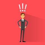 Excited business man with exclamation mark vector Royalty Free Stock Images