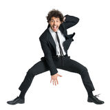 Excited Business man Jumping Stock Photos