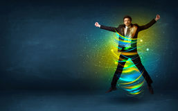 Free Excited Business Man Jumping With Energy Colourful Lines Stock Images - 74910264