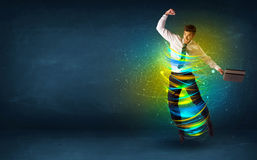 Free Excited Business Man Jumping With Energy Colourful Lines Stock Photos - 74910863