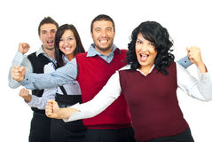 Excited business people group Stock Photos