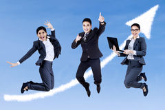 Excited business people Stock Photo