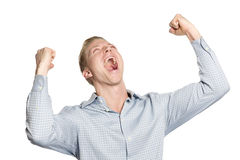 Successful businessman shouting his achievement. Stock Image
