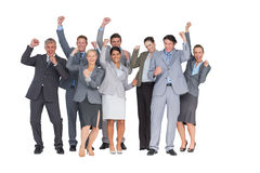 Excited business team cheering at camera Royalty Free Stock Images