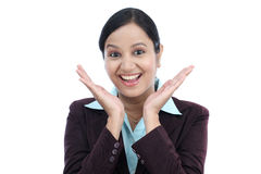 Excited business woman against white Stock Photography