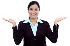 Excited business woman against white Royalty Free Stock Photography
