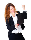 Excited business woman enjoys Stock Image