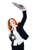 Excited business woman enjoys a successful deal. In her hands files and a bottle of champagne. Isolated over white background Royalty Free Stock Image