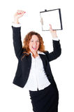 Excited business woman enjoys a successful deal Stock Photos
